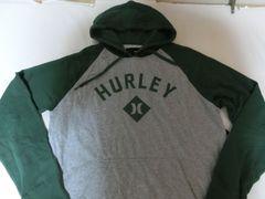 ハーレー【hurley】ロゴプリントプルオーバーパーカーUS L 灰x緑
