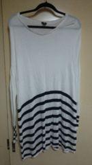 ■春物美品H&M白ドルマン袖裾ボーダーゆったりワンピ■