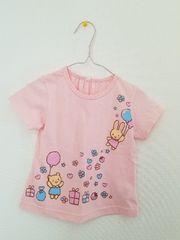 ピンクにうさぎとクマの風船の半袖Tシャツ95