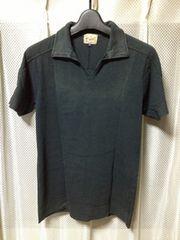 チャオパニックワークス ユーズド加工 半袖ポロシャツ Sサイズ細身 黒チャコールグレー ロック