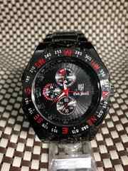 赤ガンメタ★重厚メタル製メンズ腕時計BlackOceans