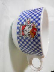 ハム太郎スープカップ/青チェック/直径8cm/新品同様♪