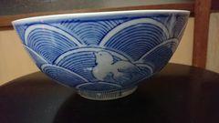 藍鍋島青海波関取染付深鉢