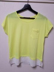新品◆VENCE EXCHANGE◆ネオンイエロー異素材切り替えTシャツ