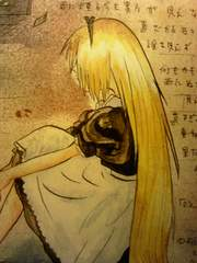自作イラストオリジナル☆金髪ロングの女の子、寂しげ