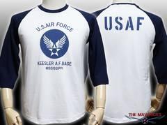 エアフォース 7分袖 ラグラン Tシャツ 白紺 XL新品/ミリタリー