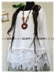 新作☆大きいサイズ☆3Lホワイト☆裾花柄刺繍レース☆ストレッチチュニ