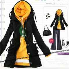 *大きいサイズ【L〜2L】*薄スエット地フード付ロングパーカージャケット/黒