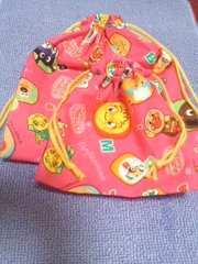 アンパンマン柄ピンク巾着袋2点セット