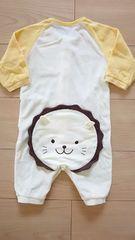 コムサイズム ベビー 長袖 カバーオール サイズ60-70 黄色 おしりライオン