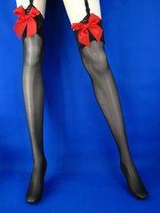 赤リボン付きストッキング 黒