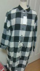 ユニクロフランネルロングシャツ「長袖」ブラック系M