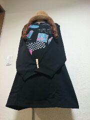 ★新品タグ5L★プリント★裏起毛チュニ(黒)