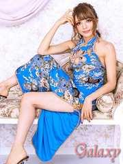 4742★絢爛華麗*胸元カットアウト*煌和風花柄チャイナロングドレス*ブルー