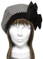 ハンドメイド◆リボン飾り/千鳥柄ウール リブ付ベレー帽◆白黒系