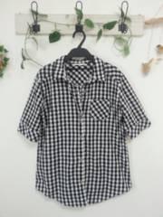 CORNFLAKE☆コットン100%黒×白ブロックチェック シャツ♪