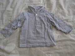 [新品]Yumi sienne長袖ボーダー柄Tシャツ&つりズボンセット(80�p)