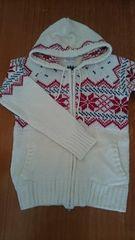 Lサイズ 雪柄 ファスナー付きセーター ジャケット カントリー