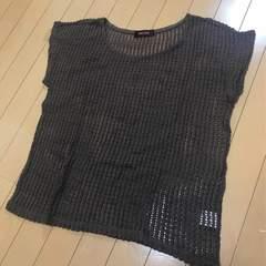 新品◆ゆったり重ね着用◆透かし編みニット◆ブラウン こげ茶
