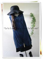 新品*春パーカー/シンプル/中央ポケット/紺系*大きいサイズ/LL