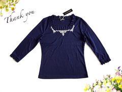 新品 BELLEVAH ビジュー 刺繍 フリル 七分袖 カットソー 紺