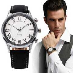 腕時計 ギリシャ文字 クォーツメンズ レザー ベルトブラック
