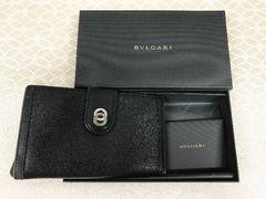 BVLGARI ブルガリ 長財布 レザー 二つ折り 小銭入れ 使用感有 箱付き