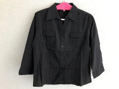 黒 七分袖シャツ/大きいサイズ LL
