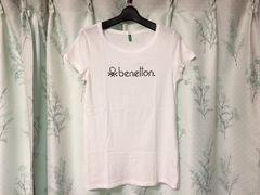 美品ベネトンBENETTON半袖ロゴTシャツ白色ホワイト