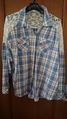 送料込水色チェックシャツ4L 大きいサイズ