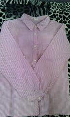 ピンクチェックシャツ130cm