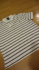 POLORALPH LAUREN ボーダーポロシャツ 白ホワイト サイズXL