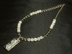浮彫龍水晶プレート&本水晶&クラック水晶ネックレス 運気上昇