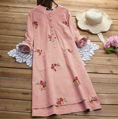 新品大きいサイズ6L〜8Lゆったり薔薇刺繍ワンピース長袖