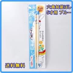 正規品 日本製 六角知能箸 5才用 16cm ブルー 子供箸 箸匠せいわ
