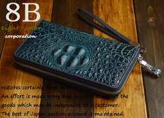 ◆牛本革 クロコ型押し大き目ラウンドファスナー財布◆青b40