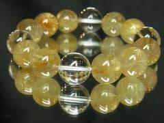 開運招来天然石!!本水晶クリスタル×ゴールドルチル14ミリ数珠ブレス