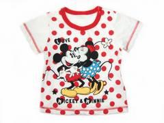 *Disney*ディズニー*ミッキー&ミニーchan LOVEドットTシャツ*ホワイト*90�a*新品*