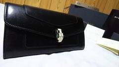 正規 BVLGARIブルガリ セルペンティ スネーク装飾 長財布黒 ウォレット 付属完備