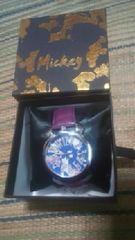 ミッキーシルエット【腕時計】文字盤&ベルト・パープル