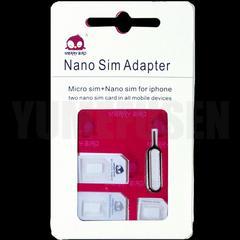 nanoSIM microSIM サイズ変換▽SIMアダプタ+iPhone用ドライバ 4点セット白