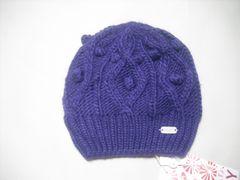 wb696 ROXY ロキシー ニット帽 ビーニー 紫