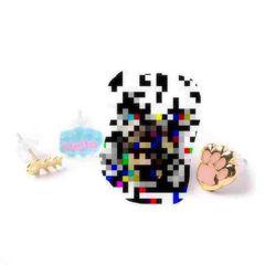 キャセリーニ・猫の手&魚&文字ピアスセット。ピンク