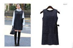 新品大きいサイズ6L21号腰リボンジャンパースカートワンピース紺