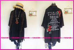 春新作◆大きいサイズ4Lブラック◆背中英字&薔薇ワッペン◆チュニック