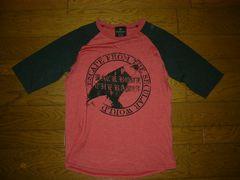 BACKBONEバックボーンラグランカットソーL赤黒加工Tシャツ