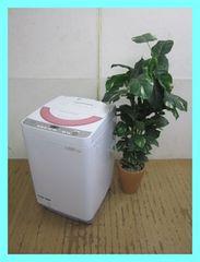 シャープ6,0k全自動洗濯機(穴なし槽)ES-GE60R-Pピンク系2016年製
