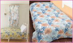 フランス花飾り柄マルチクロス 花柄 フラワー 225cm布 ベッド/ソファ/テーブルカバー