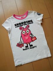 中古ぐるりTシャツ120白×ピンクpartyparty