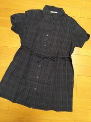 美品11Rサイズ/グリーンチェック紐付きシャツワンピチュニック